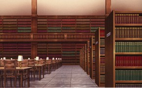 Picture books, chairs, tables, library, visual novel, deserted, table lamp, Surah Of The Digit, by Melo