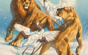 Picture winter, snow, birds, figure, dance, Leo, art, pair, painting, lions, lioness, snowfall, two, cranes, two …