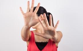 Picture brunette, hands, pose
