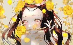 Picture girl, roses, Nezuko Kamado, Kimetsu no Yaiba