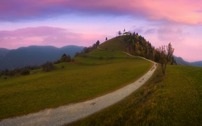 Picture road, autumn, clouds, trees, landscape, mountains, nature, dawn, morning, hill, Church, Slovenia, Pawel Kucharski