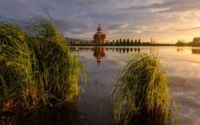 Picture grass, landscape, sunset, nature, lake, temple, Altay, Paul Kalinenko