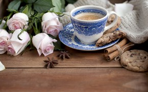 Picture coffee, roses, cookies, cinnamon