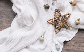 Picture balls, star, Christmas toys, knitting, knitted thing, wooden star