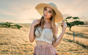 Picture look, the sun, nature, pose, model, skirt, portrait, hat, makeup, hairstyle, blonde, topic, beauty, is, …