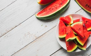 Picture summer, Watermelon, berry, Plate, Slices