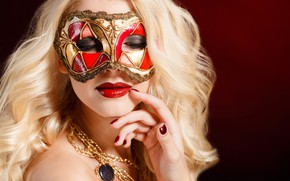Picture girl, decoration, close-up, face, background, hand, makeup, mask, hairstyle, blonde, bokeh, manicure