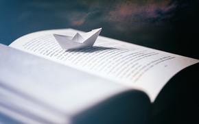 Picture macro, book, paper boat