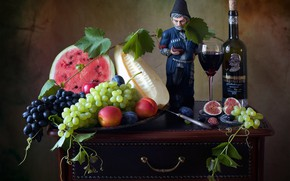 Picture wine, glass, bottle, watermelon, grapes, figurine, fruit, still life, melon, figs, Мила Миронова