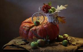 Picture autumn, candle, pumpkin, still life, Halloween