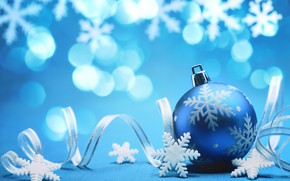 Picture New Year, holiday, blue ball, background, tape, picture, Christmas toy, snowflakes, bokeh