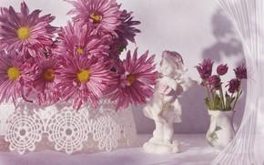 Wallpaper flowers, vase, figurine, pink, chrysanthemum