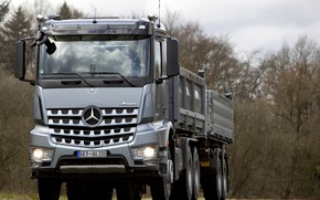 Picture trees, grey, Mercedes-Benz, the trailer, 2013, dump truck, triaxial, Arocs
