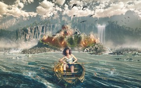Picture woman, boat, waterfall, Island, paddles