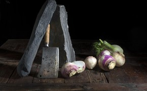 Picture table, vegetables, cleaver