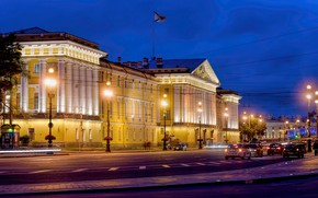 Picture road, machine, night, lights, movement, street, the building, lights, Saint Petersburg, Russia, The Admiralty