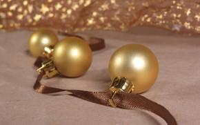 Picture winter, balls, holiday, toys, Christmas, New year, gold, Christmas decorations, новогодние декорации