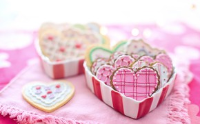 Picture box, heart, cookies, Valentine's day