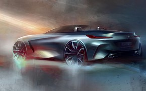 Picture figure, BMW, sketch, back, Roadster, side, BMW Z4, Z4, 2019