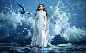 Picture waves, sea, fantasy girl, godess, seagul, sea girl