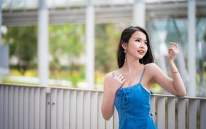 Picture girl, pose, hands, Asian, cutie, bokeh
