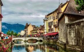 Picture mountains, bridge, river, France, building, home, France, Annecy, Annecy, River TEW, Thiou River