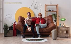 Picture girl, boobs, men, living room, faces, arm, Coach, Roman Filippov