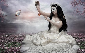 Picture girl, flowers, mask, meadow