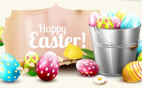 Picture rendering, Tulip, eggs, Easter, bucket, Easter