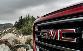 Picture red, grille, pickup, GMC, Sierra, AT4, 2019
