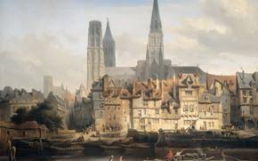 Picture oil, picture, canvas, the urban landscape, 1839, The Parisian quay at Rouen, Johannes Bosboom, Johannes …