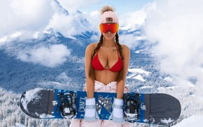 Picture chest, girl, snowboard, tattoo, braids, Alexander Mavrin, The mavri, Victoria Odintsova, Viki odintcova