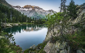 Picture trees, landscape, mountains, nature, lake, rocks, Spain, Bank, The Pyrenees, Escarpins