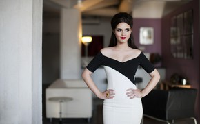 Picture look, girl, pose, makeup, dress, actress, beauty, Vanessa Marano