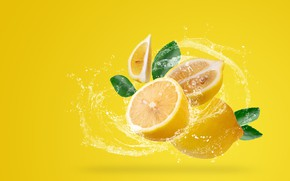 Picture water, squirt, yellow, background, lemon, citrus