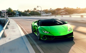 Picture road, machine, the sky, speed, Lamborghini, sports car, Spyder, Evo, Huracan