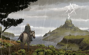 Picture Horse, Figure, People, Lightning, Rain, Horse, Hills, Landscape, Illustration, Concept Art, Environments, Stadnik, Lorenzo Lanfranconi, …