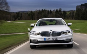 Picture field, forest, white, BMW, sedan, front view, hybrid, 5, four-door, 2017, 5-series, G30, 530e iPerformance