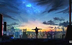 Picture The sky, Figure, The city, People, View, City, Roof, Landscape, Art, Fiction, Concept Art, Environments, …