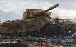 Picture WoT, World of Tanks, Wargaming, game art, Project M35, mod. 46