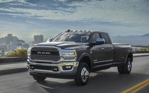 Picture road, car, machine, the sky, city, the city, Dodge, front, pickup, Dodge Ram 3500, big …