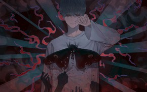 Picture look, darkness, Butterfly, hands, guy, Vocaloid, undead, Fukase