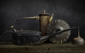 Picture metal, the dark background, creative, background, kettle, lake, Board, pitcher, still life, iron, items, funnel, …