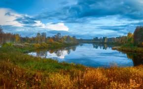 Picture autumn, grass, water, clouds, trees, landscape, nature, reflection, river, blue, shore, vegetation, dal, blue, pond, …