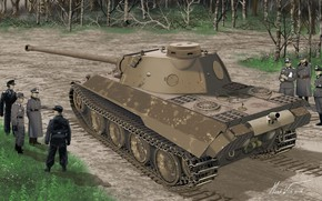 Picture road, forest, grass, tank, prototype, the Wehrmacht, tankers, soldiers, The Third Reich, Panther Ausf. D