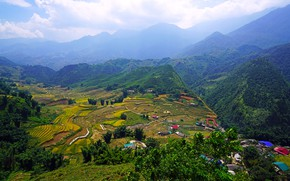 Picture the sky, clouds, trees, mountains, field, valley, panorama, houses, Vietnam, forest, Muong Hoa Valley