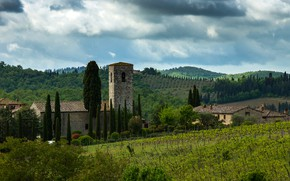 Picture greens, the sky, clouds, trees, hills, field, home, Italy, plantation, Tuscany, Chianti