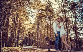 Picture road, forest, girl, pose, dog, hugs, pair, male, lovers, Juan Carlos Mora