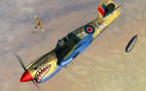 Picture RAF, Bf.109, P-40 Warhawk, External fuel tank, P-40K, Kittyhawk Mk.III, 112 Sqn