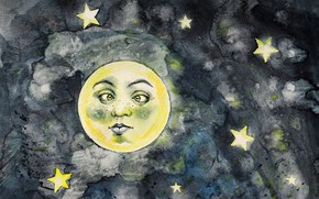 Picture the sky, space, stars, night, face, the dark background, the moon, figure, graphics, art, painting, …